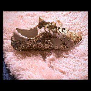"Women's ""Getting Better"" Gold Glitter Sneakers"
